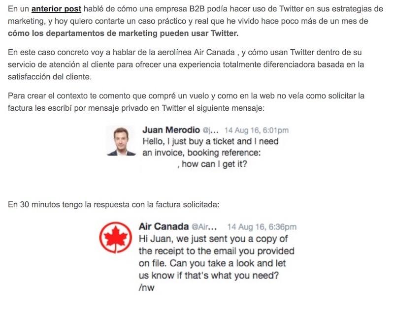 """Artículo: """"Ejemplos del uso de Twitter en departamentos de marketing"""" - Juan Merodio"""