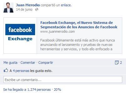 Primeros Resultados de la Prueba de los Posts Patrocinados de Facebook - Juan Merodio