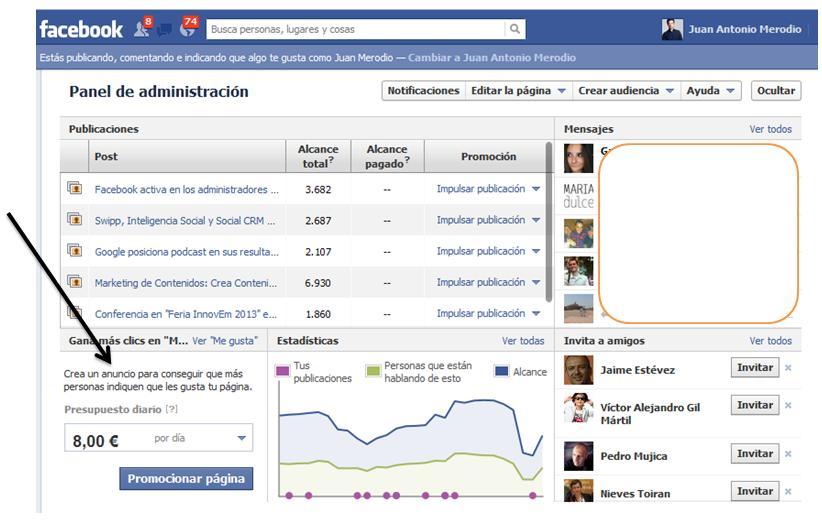 Usa las páginas promocionadas de Facebook para conseguir fans - Juan Merodio
