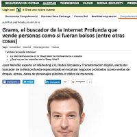 """Artículo: """"Grams, el buscador de la Internet Profunda que vende personas como si fueran bolsos"""" - Juan Merodio"""