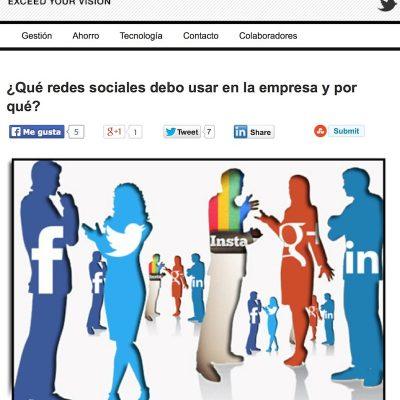 """Artículo: """"¿Qué redes sociales debo usar en la empresa y por qué?"""
