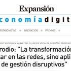 """Artículo: """"La transformación digital no es estar en las redes, sino aplicar modelos de gestión disruptivos"""" - Juan Merodio"""