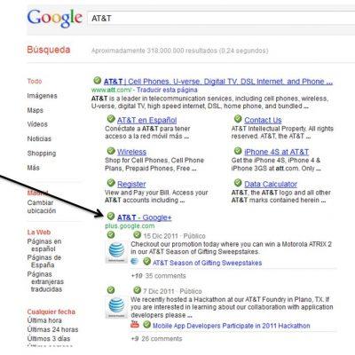 La Páginas de Empresa de Google+ Empiezan a Aparecer en los Primeros Resultados de Búsqueda