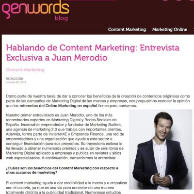 "Entrevista: ""Hablando de Content Marketing"""