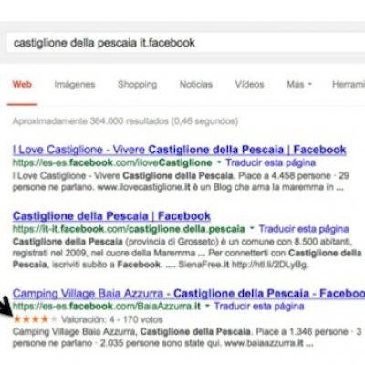 Google muestra en sus resultados el rating de 5 estrellas de Facebook