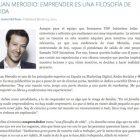 """Entrevista: """"Emprender es una filosofía de vida"""" - Juan Merodio"""