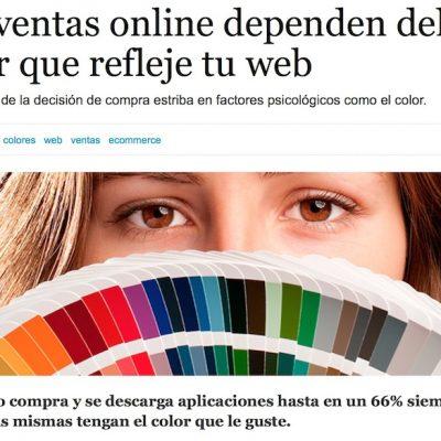 """Artículo: """"Las ventas online dependen del color que refleje tu web"""""""