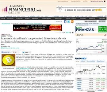 """Artículo: """"La Moneda Virtual ya hace la Competencia al Dinero"""" - Juan Merodio"""
