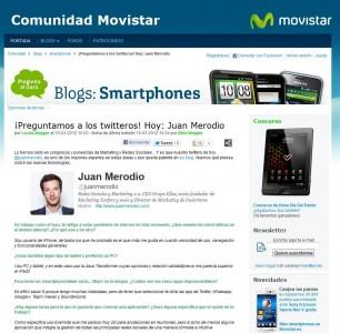 """Entrevista en Comunidad Movistar """"Hablando de Nuevas Tecnologías"""" - Juan Merodio"""