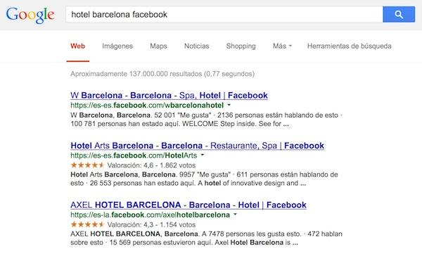 Google muestra en sus resultados el rating de 5 estrellas de Facebook - Juan Merodio