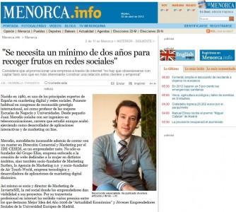 """Artículo: """"Necesitas un Mínimo de 2 Años para Recoger Frutos en RRSS"""" - Juan Merodio"""