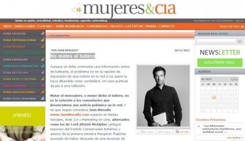 """Artículo: """"No mates al tuitero″ - Juan Merodio"""