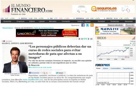 """Artículo """"Los personajes públicos deben evitar meteduras de pata"""" - Juan Merodio"""