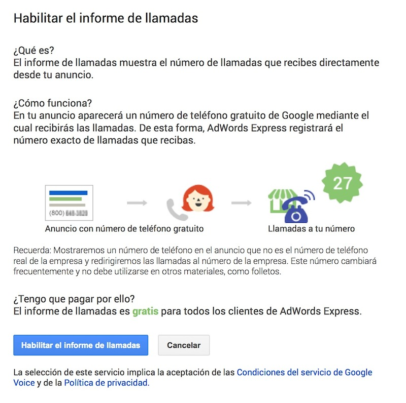 Google Adwords Express habilita el informe de llamadas - Juan Merodio