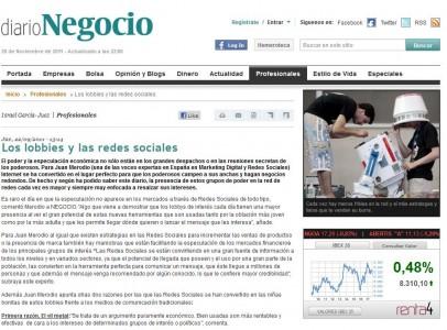 """Noticia: """"Los lobbies de interés cada día usan más las Redes Sociales"""" - Juan Merodio"""